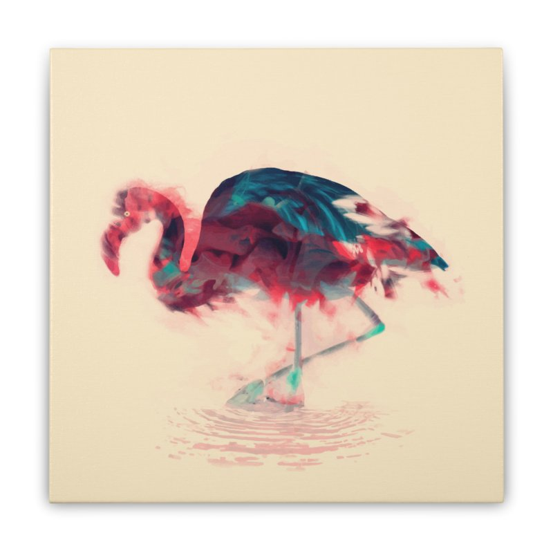 Born Flamingo Home Stretched Canvas by daniac's Artist Shop