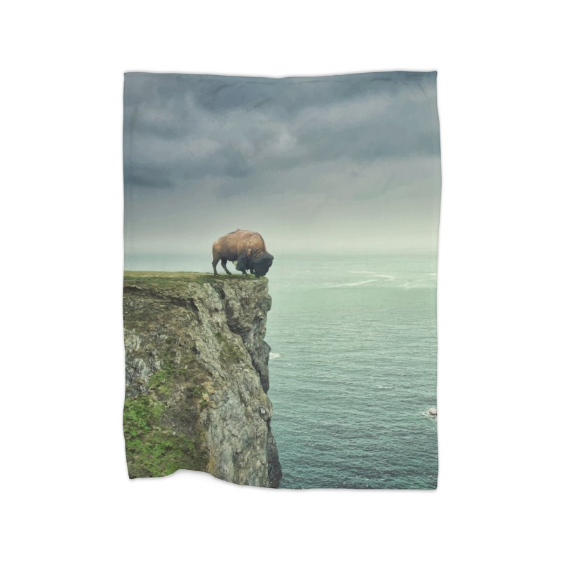 Lonely Buffalo Home Fleece Blanket Blanket by daniac's Artist Shop