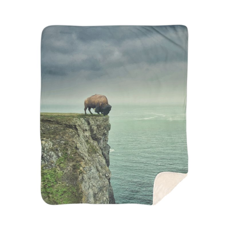 Lonely Buffalo Home Sherpa Blanket Blanket by daniac's Artist Shop