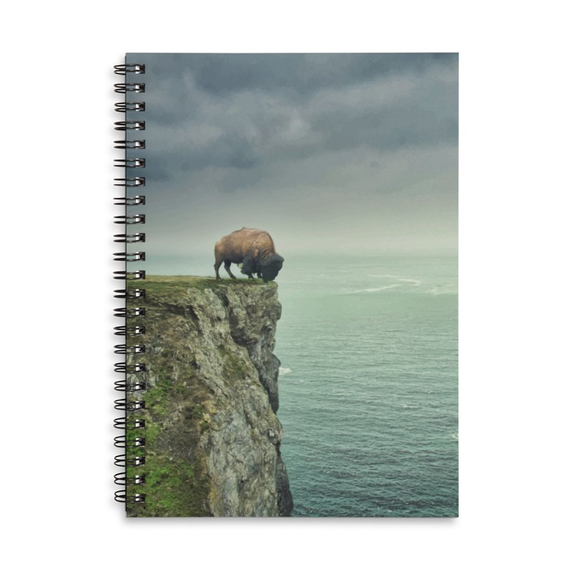 Lonely Buffalo Accessories Lined Spiral Notebook by daniac's Artist Shop