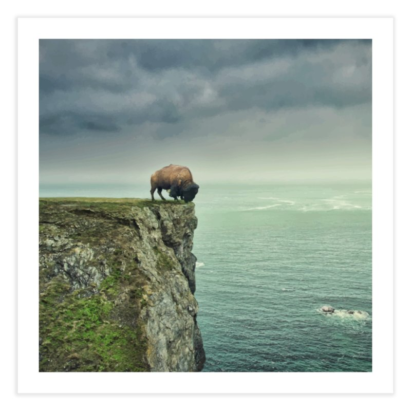 Lonely Buffalo Home Fine Art Print by daniac's Artist Shop