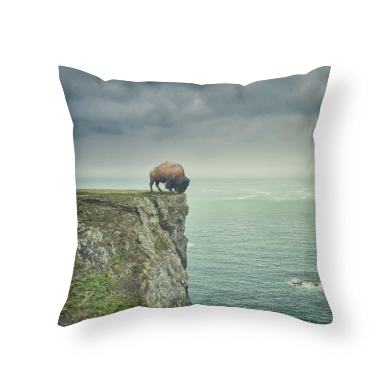 Lonely Buffalo Home Throw Pillow by daniac's Artist Shop