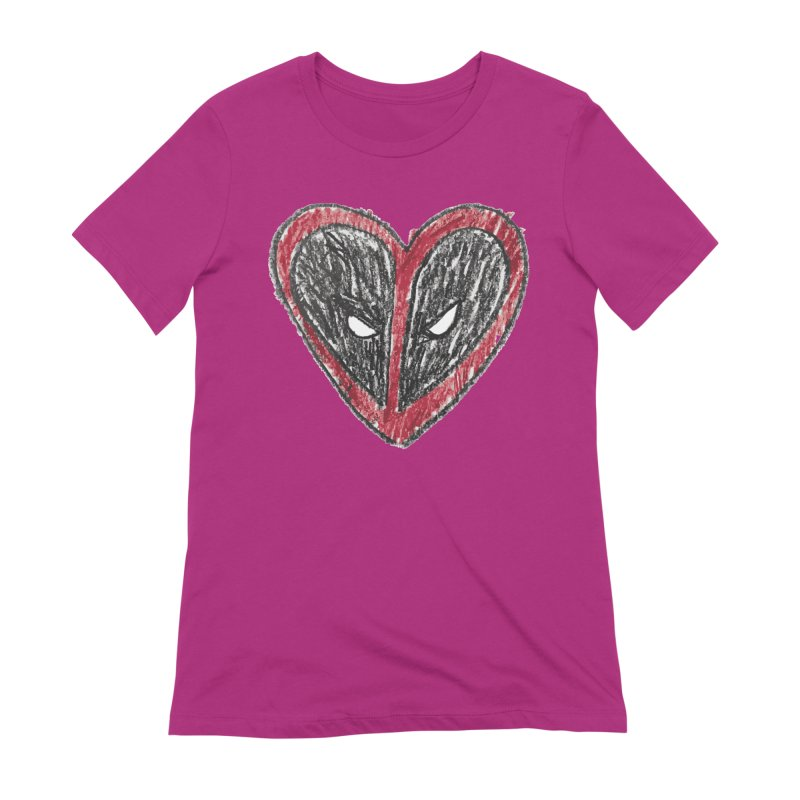 deadpool heart Women's Extra Soft T-Shirt by daniac's Artist Shop