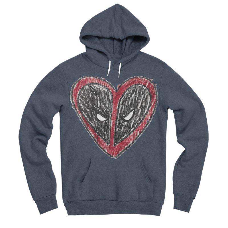 deadpool heart Men's Sponge Fleece Pullover Hoody by daniac's Artist Shop