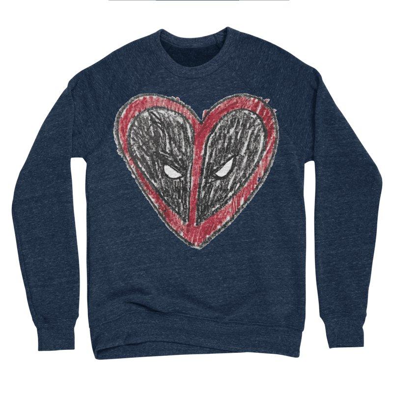 deadpool heart Men's Sponge Fleece Sweatshirt by daniac's Artist Shop
