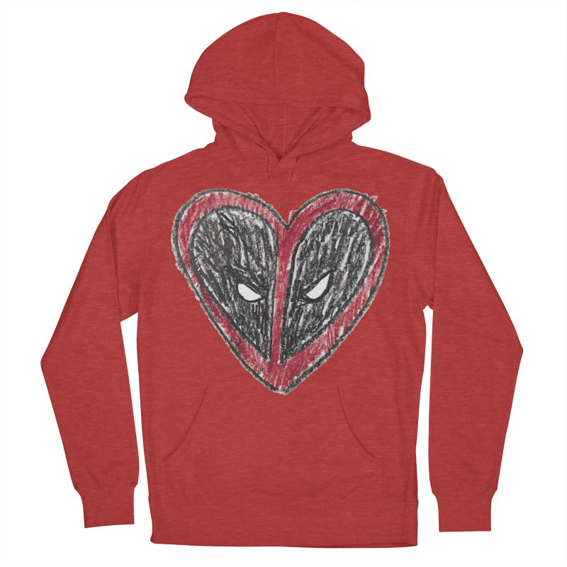 deadpool heart Men's French Terry Pullover Hoody by daniac's Artist Shop