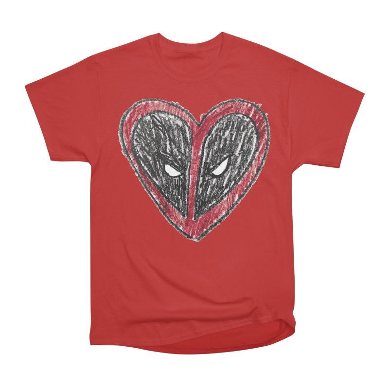 deadpool heart Women's Heavyweight Unisex T-Shirt by daniac's Artist Shop