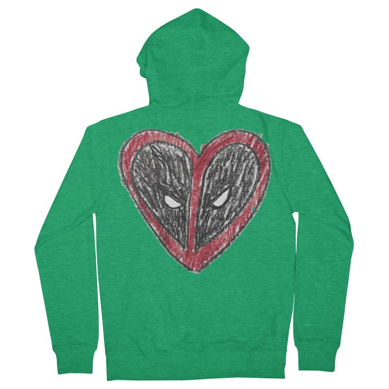 deadpool heart Men's French Terry Zip-Up Hoody by daniac's Artist Shop
