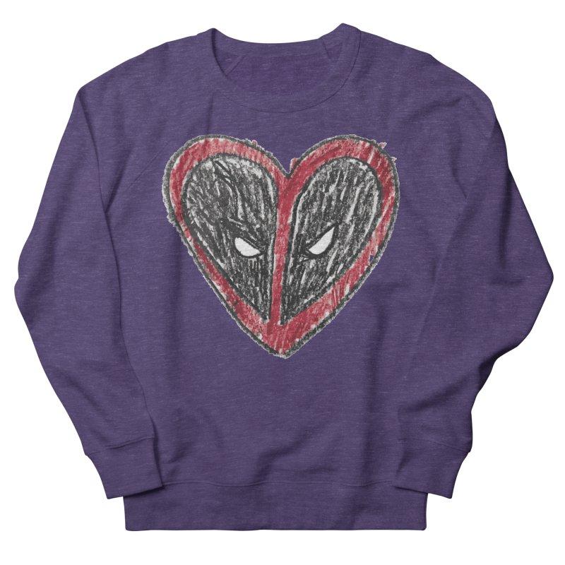 deadpool heart Men's French Terry Sweatshirt by daniac's Artist Shop