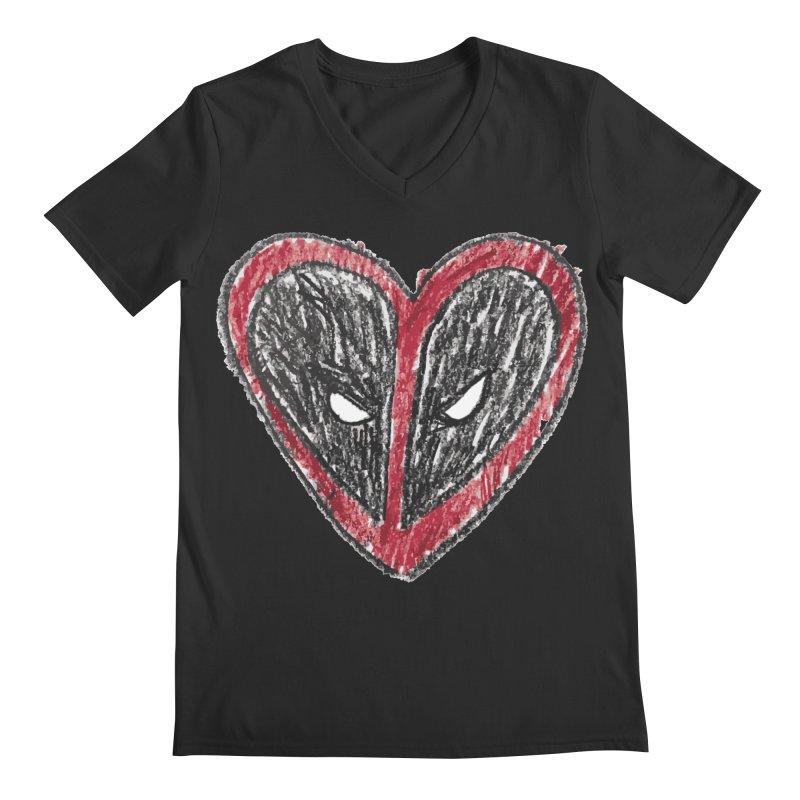 deadpool heart Men's Regular V-Neck by daniac's Artist Shop