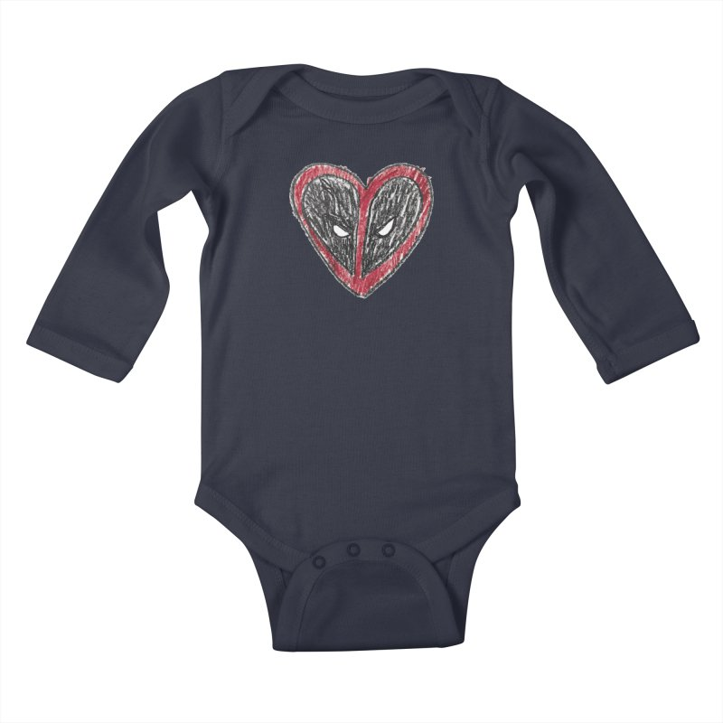 deadpool heart Kids Baby Longsleeve Bodysuit by daniac's Artist Shop