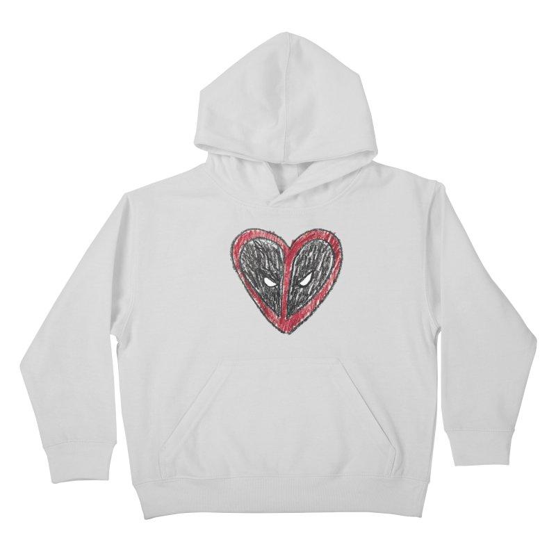 deadpool heart Kids Pullover Hoody by daniac's Artist Shop