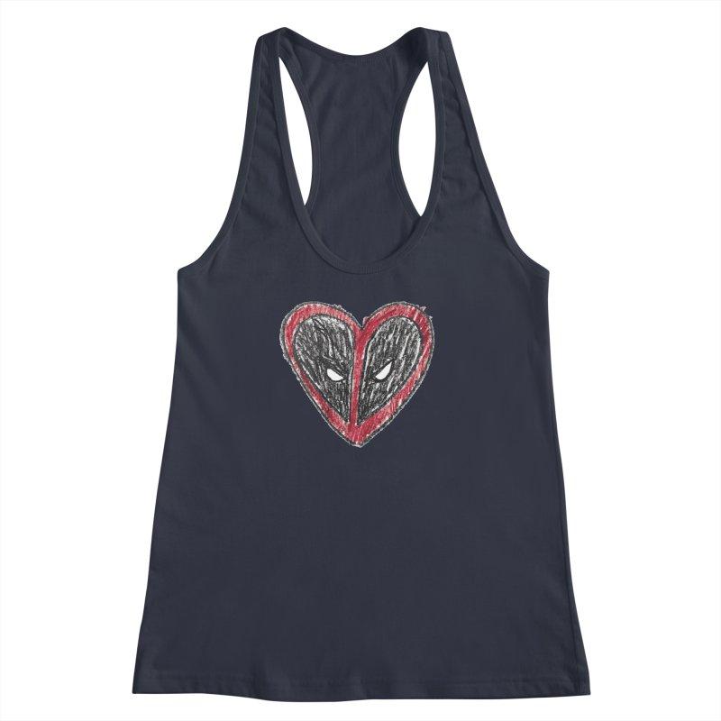 deadpool heart Women's Racerback Tank by daniac's Artist Shop