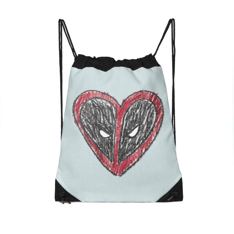 deadpool heart Accessories Drawstring Bag Bag by daniac's Artist Shop