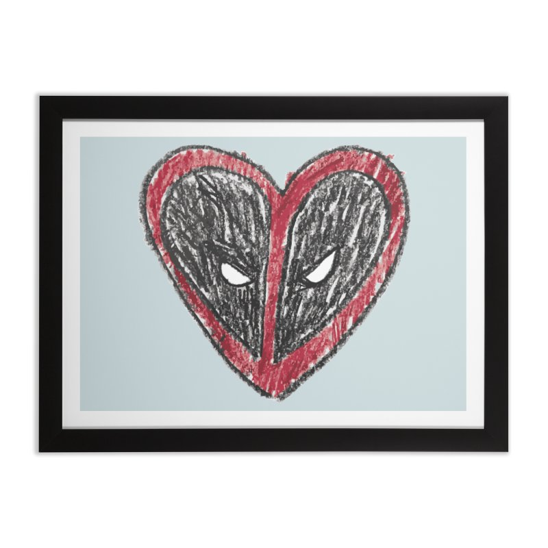 deadpool heart Home Framed Fine Art Print by daniac's Artist Shop