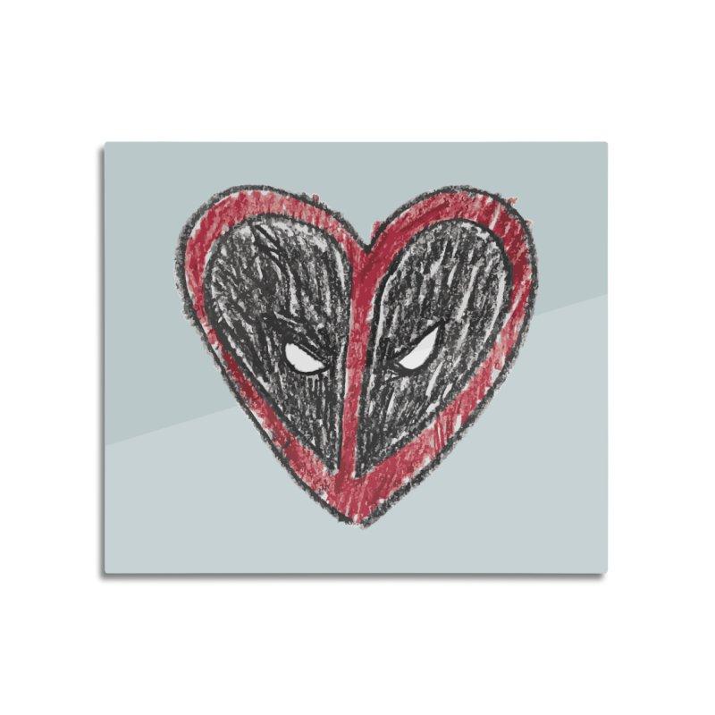 deadpool heart Home Mounted Aluminum Print by daniac's Artist Shop