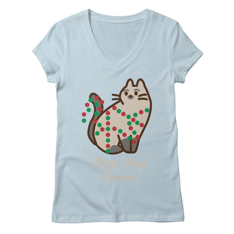 Merry xmas human Women's Regular V-Neck by daniac's Artist Shop