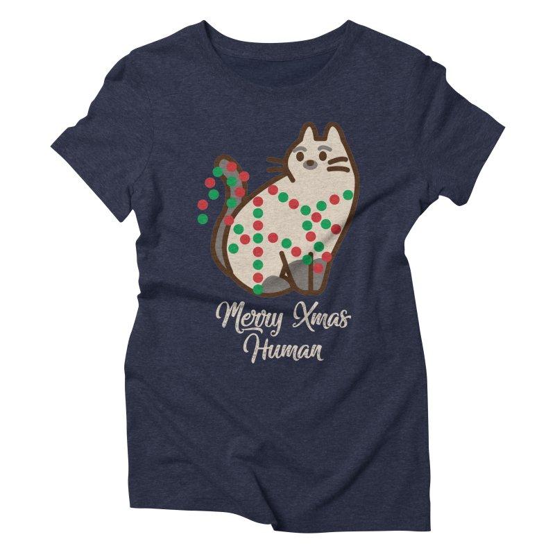 Merry xmas human Women's Triblend T-Shirt by daniac's Artist Shop