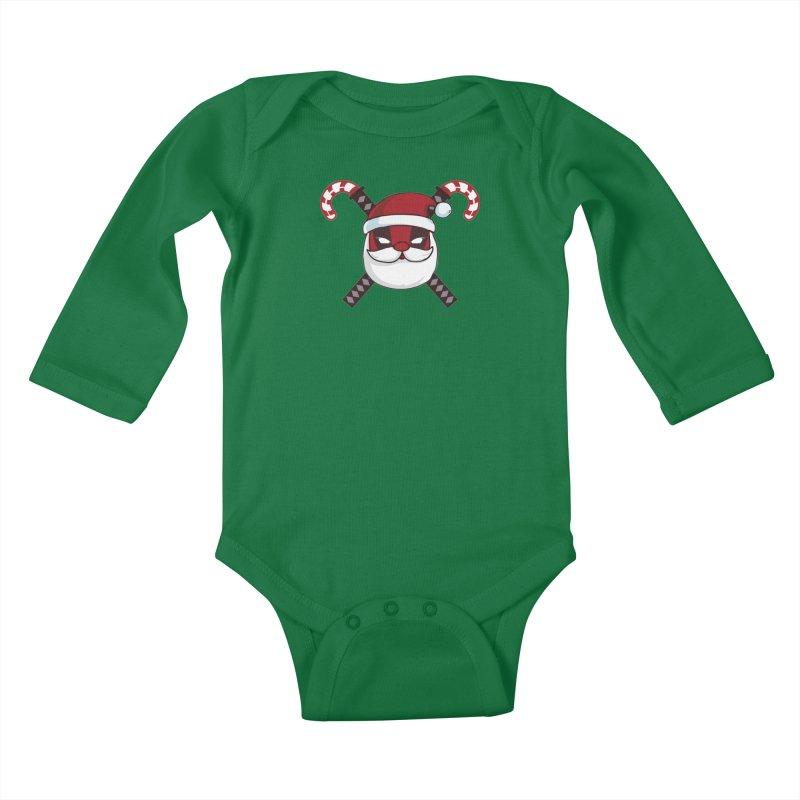 Deadpool Claus Kids Baby Longsleeve Bodysuit by daniac's Artist Shop