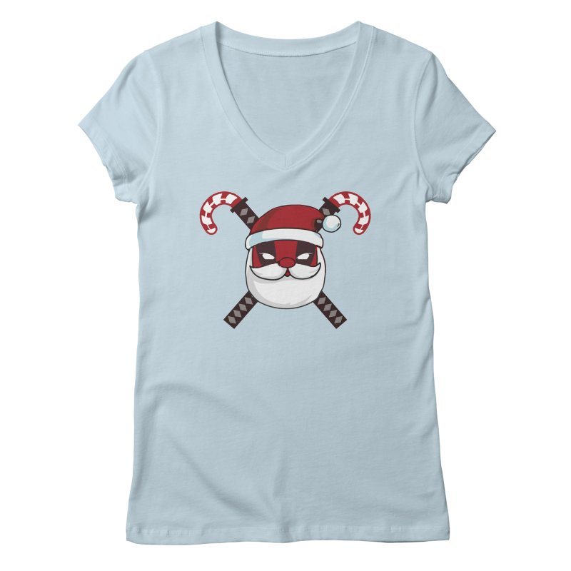 Deadpool Claus Women's Regular V-Neck by daniac's Artist Shop