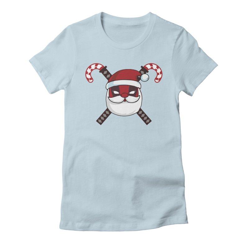 Deadpool Claus Women's Fitted T-Shirt by daniac's Artist Shop