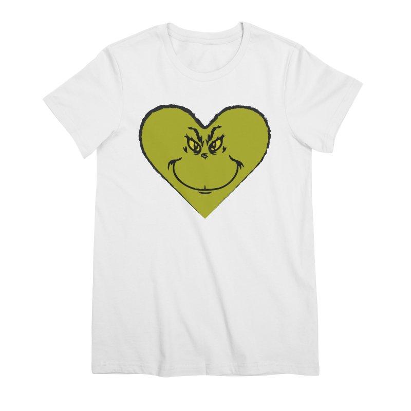 Grinch heart Women's Premium T-Shirt by daniac's Artist Shop