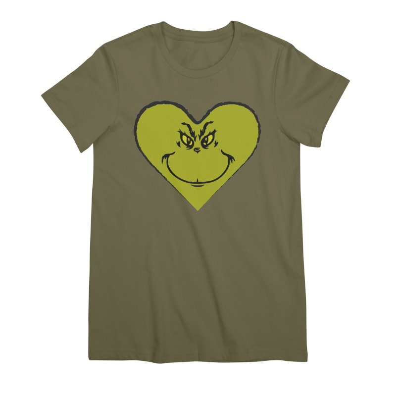 Grinch heart Women's Premium T-Shirt by daniac's Artist Shop