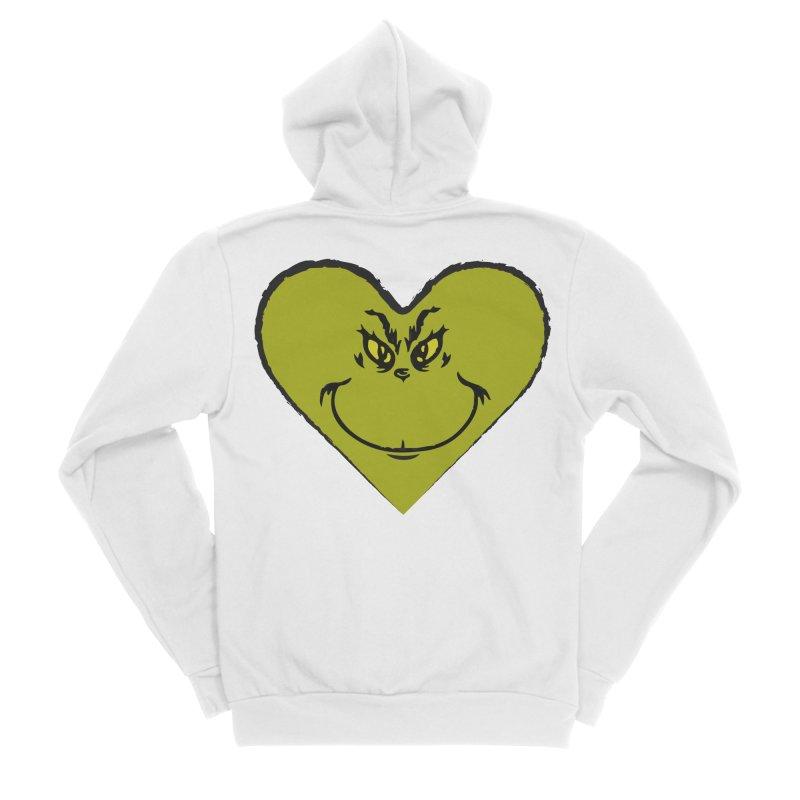 Grinch heart Men's Sponge Fleece Zip-Up Hoody by daniac's Artist Shop