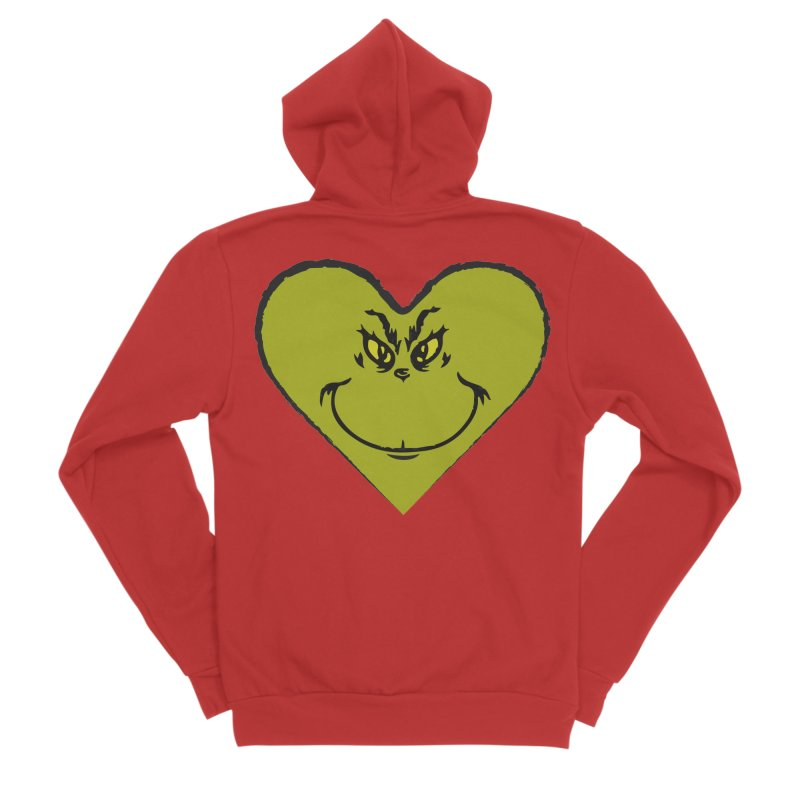 Grinch heart Women's Sponge Fleece Zip-Up Hoody by daniac's Artist Shop