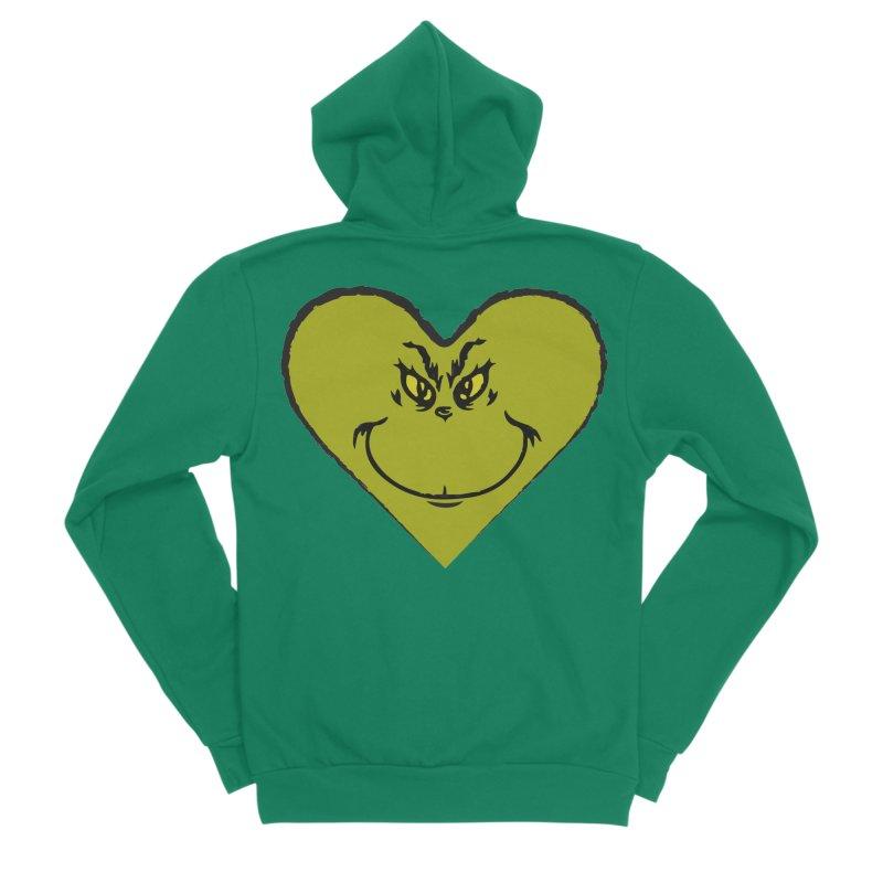 Grinch heart Women's Sponge Fleece Zip-Up Hoody by daniac's Artist Shop