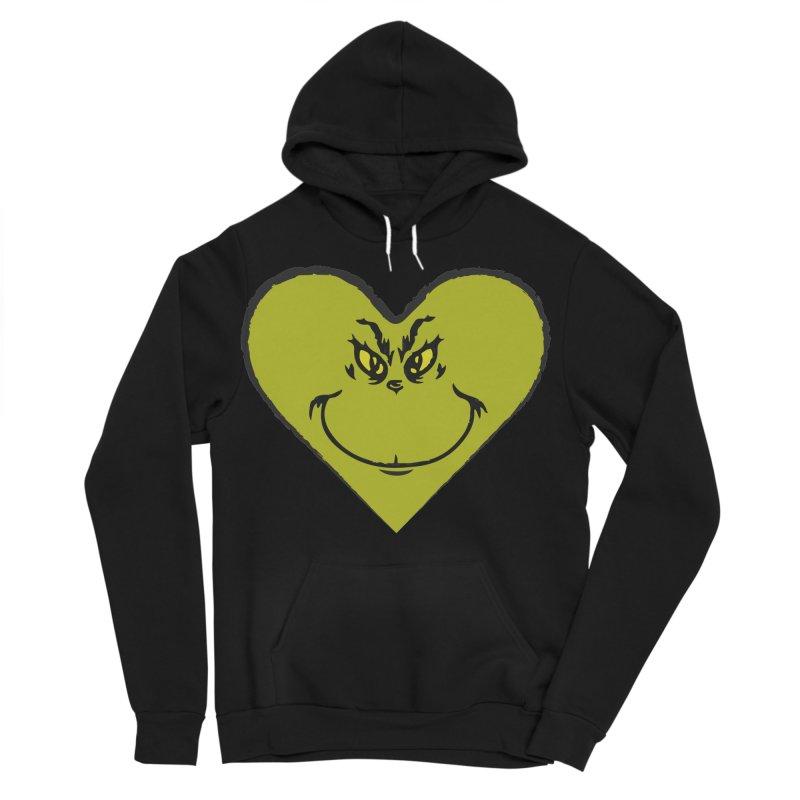 Grinch heart Women's Sponge Fleece Pullover Hoody by daniac's Artist Shop