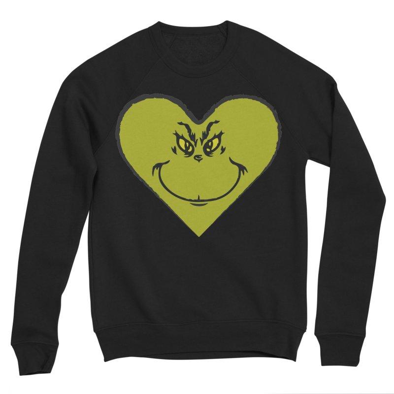 Grinch heart Women's Sponge Fleece Sweatshirt by daniac's Artist Shop