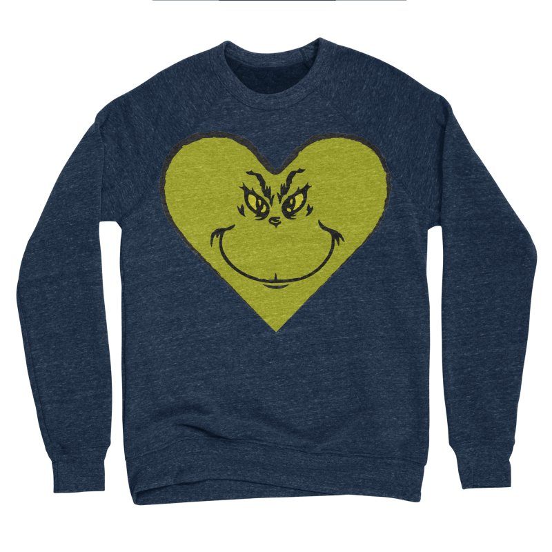 Grinch heart Women's Sponge Fleece Sweatshirt by daniac's Artist Shop