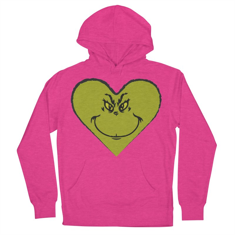 Grinch heart Women's French Terry Pullover Hoody by daniac's Artist Shop