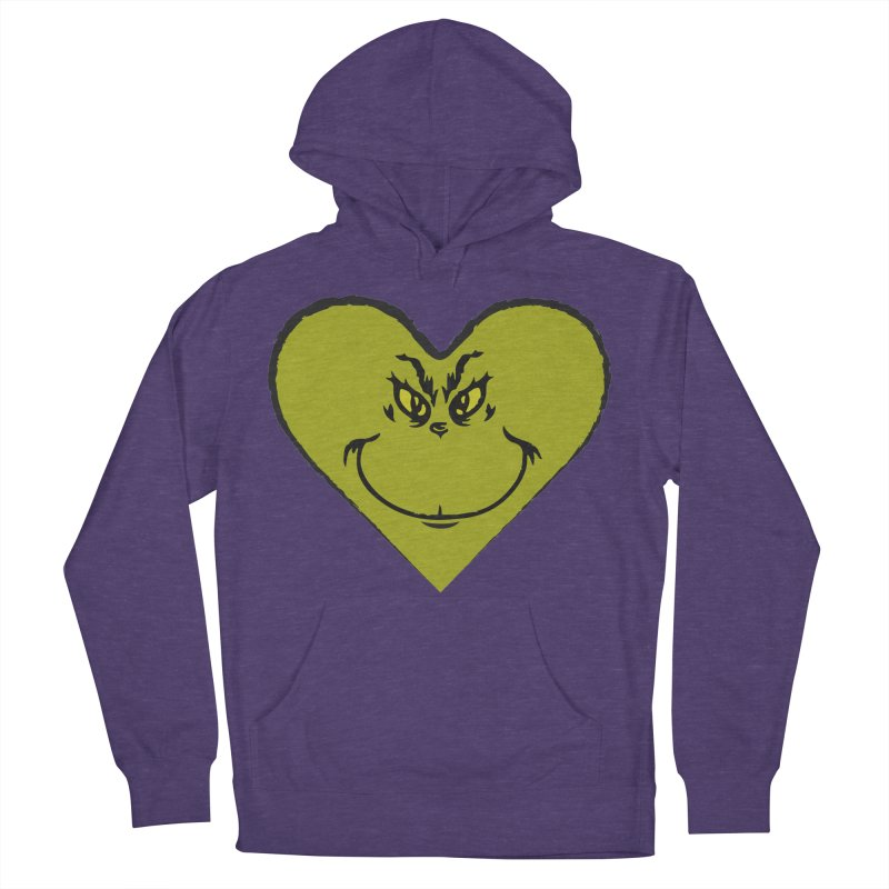 Grinch heart Men's French Terry Pullover Hoody by daniac's Artist Shop