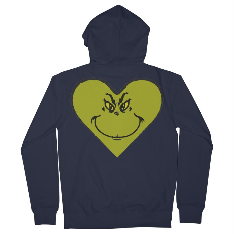 Grinch heart Women's French Terry Zip-Up Hoody by daniac's Artist Shop