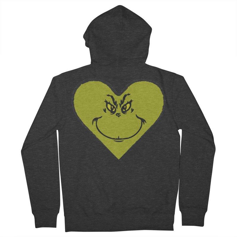 Grinch heart Men's French Terry Zip-Up Hoody by daniac's Artist Shop