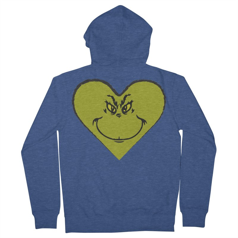 Grinch heart Men's French Terry Zip-Up Hoody by daniac's Artist Shop