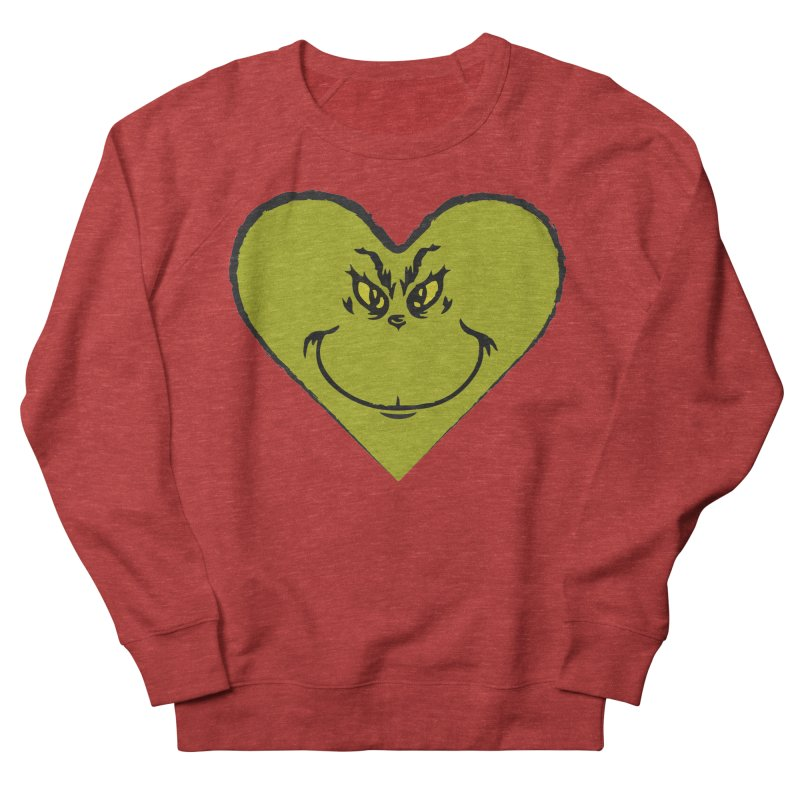 Grinch heart Women's French Terry Sweatshirt by daniac's Artist Shop