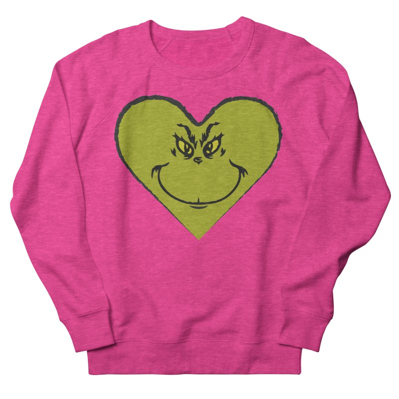 Grinch heart Women's French Terry Sweatshirt by daniac's Artist Shop