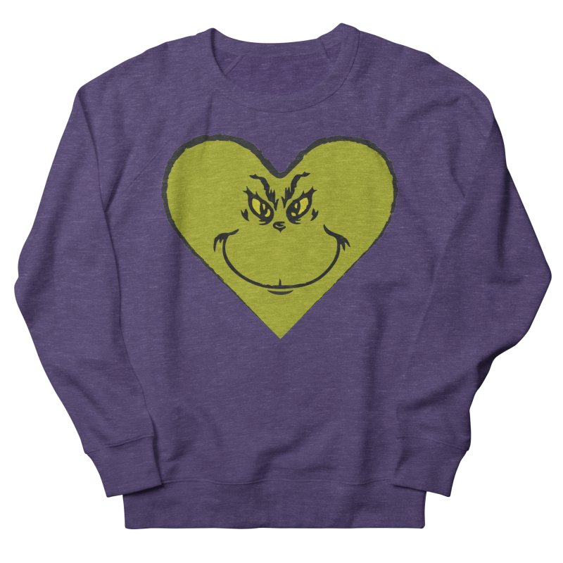Grinch heart Men's French Terry Sweatshirt by daniac's Artist Shop