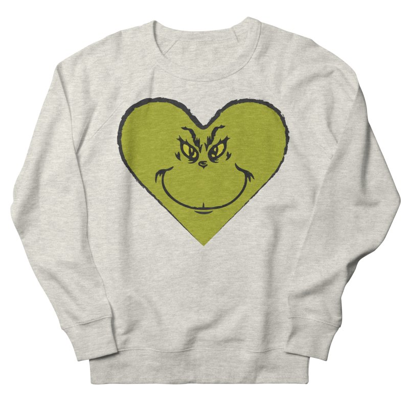 Grinch heart Men's French Terry Sweatshirt by daniac's Artist Shop