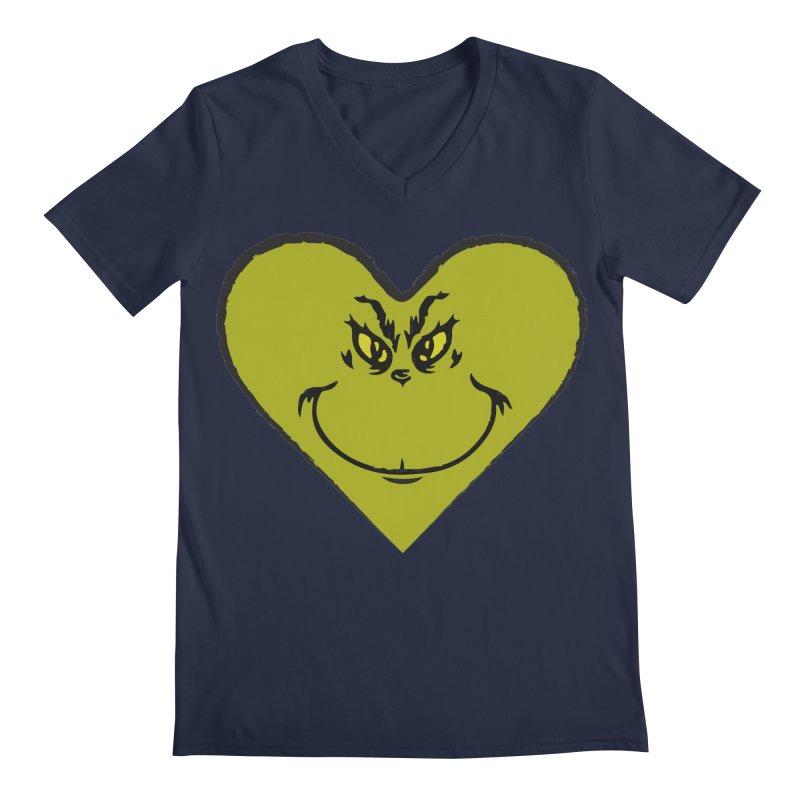 Grinch heart Men's Regular V-Neck by daniac's Artist Shop