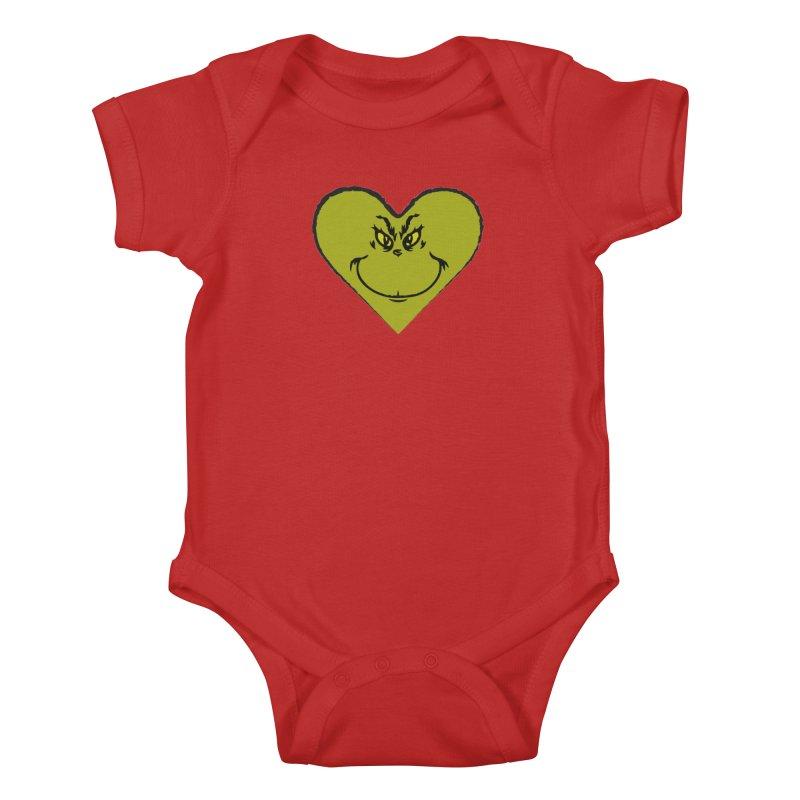 Grinch heart Kids Baby Bodysuit by daniac's Artist Shop