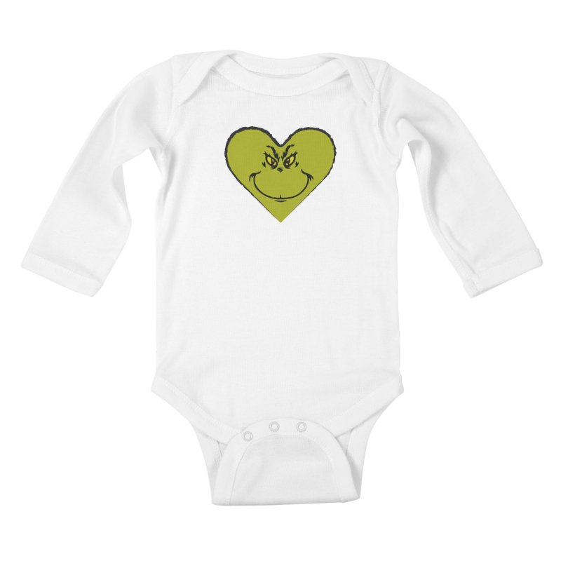 Grinch heart Kids Baby Longsleeve Bodysuit by daniac's Artist Shop