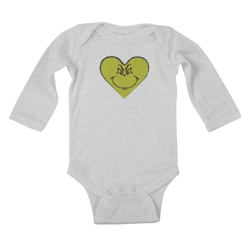 Grinch heart Kids Baby Longsleeve Bodysuit by daniac's Artist Shop