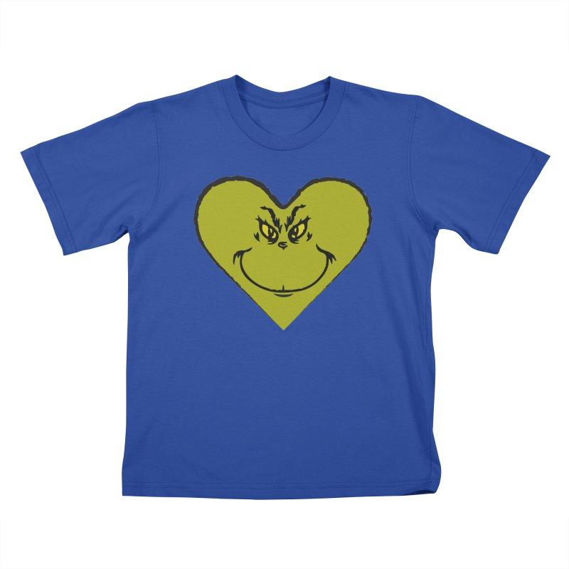 Grinch heart Kids T-Shirt by daniac's Artist Shop