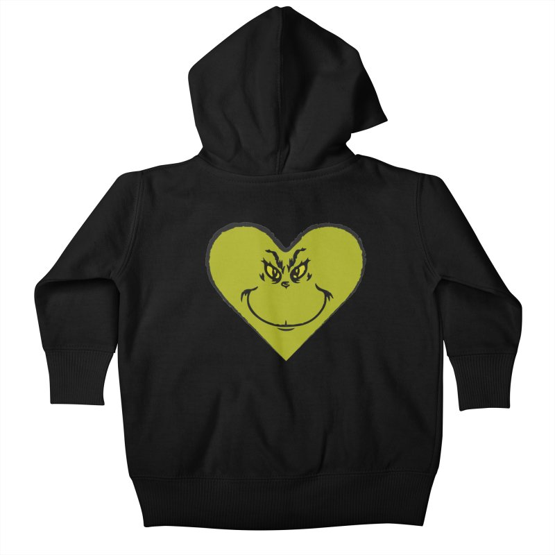 Grinch heart Kids Baby Zip-Up Hoody by daniac's Artist Shop