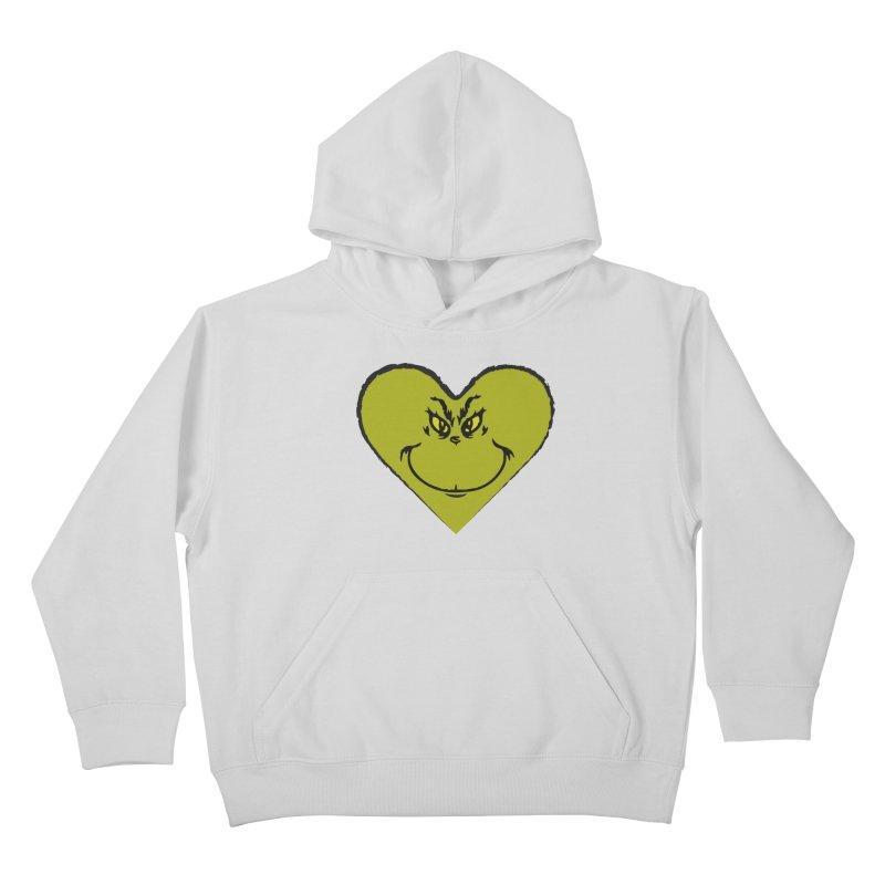 Grinch heart Kids Pullover Hoody by daniac's Artist Shop
