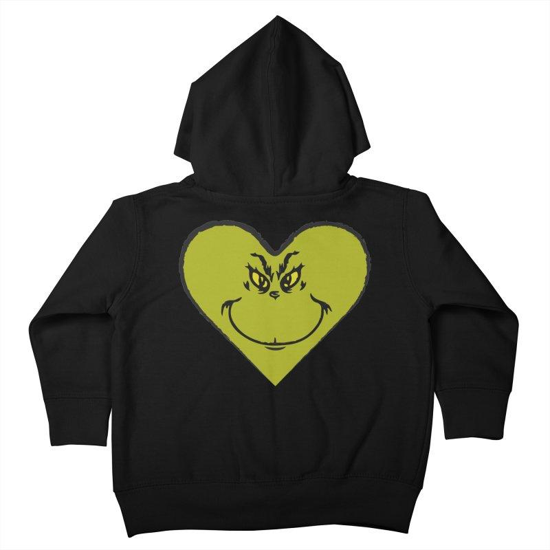 Grinch heart Kids Toddler Zip-Up Hoody by daniac's Artist Shop